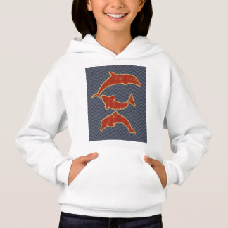 Red Fishes on zigzag chevron - Black and Grey Hoodie