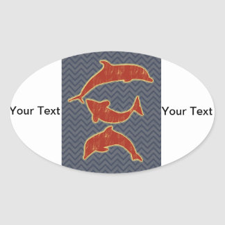 Red Fishes on zigzag chevron - Black and Grey Oval Sticker