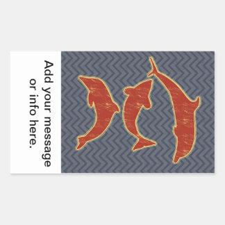Red Fishes on zigzag chevron - Black and Grey Rectangular Sticker