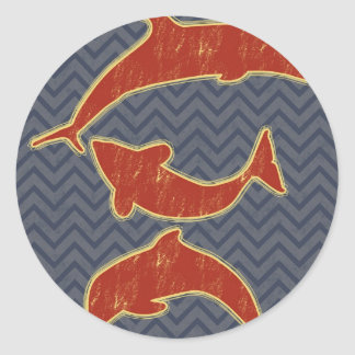 Red Fishes on zigzag chevron - Black and Grey Classic Round Sticker