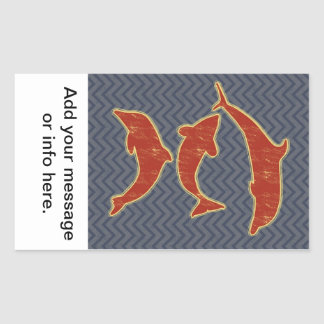 Red Fishes on zigzag chevron - Black and Grey Rectangular Sticker