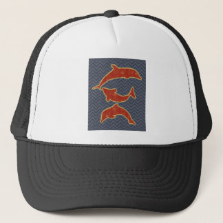 Red Fishes on zigzag chevron - Black and Grey Trucker Hat