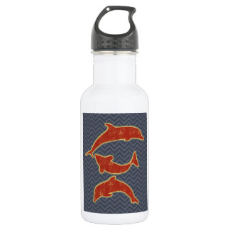 Red Fishes on zigzag chevron - Black and Grey Water Bottle