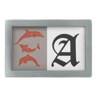 Red Fishes on zigzag chevron - Mono Belt Buckle