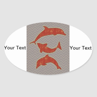 Red Fishes on zigzag chevron - Mono Oval Sticker