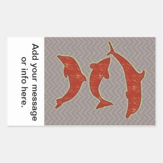 Red Fishes on zigzag chevron - Mono Rectangular Sticker