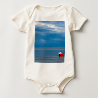 Red fishing boat on the Baltic Sea Baby Bodysuit