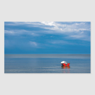 Red fishing boat on the Baltic Sea Rectangular Sticker