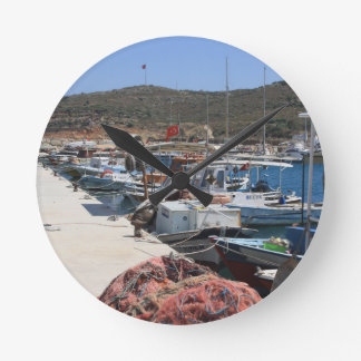 Red Fishing Net and Fishing Boats in Datca Round Wallclock