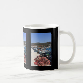 Red Fishing Net and Fishing Boats in Datca Coffee Mugs