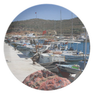 Red Fishing Net and Fishing Boats in Datca Dinner Plate