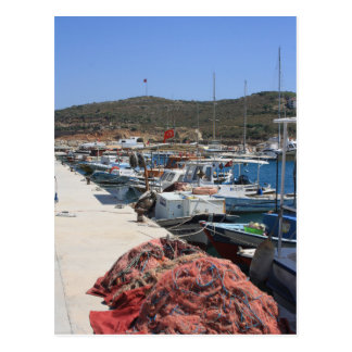 Red Fishing Net and Fishing Boats in Datca Postcard