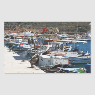 Red Fishing Net and Fishing Boats in Datca Rectangular Sticker