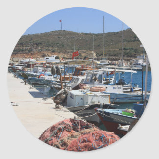 Red Fishing Net and Fishing Boats in Datca Round Sticker