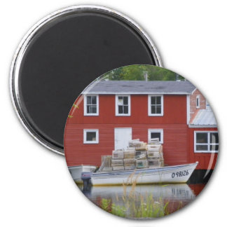 Red Fishing Stage in Salvage 2 Inch Round Magnet