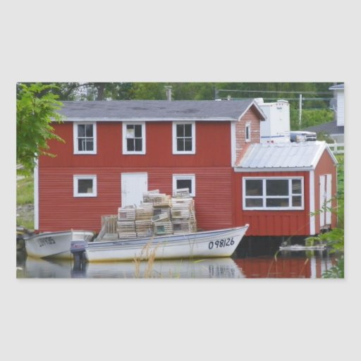 Red Fishing Stage in Salvage Rectangular Stickers