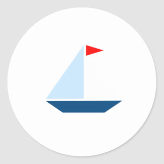 Red Flag Sail Boat Classic Round Sticker
