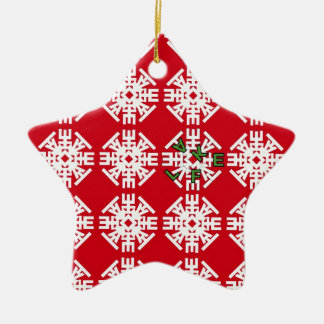 Red FLAKE Mosaic Double-Sided Star Ceramic Christmas Ornament