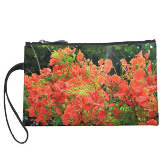 Red flamboyant flowers wristlet