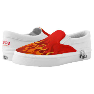 Red Flame Slip on Shoes Printed Shoes