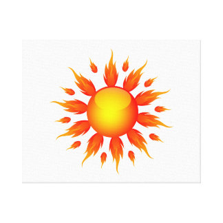 red flame sun ecology graphic.png canvas print