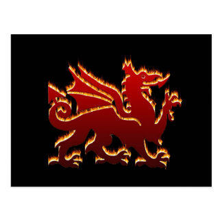 Red flame Welsh Dragon Postcard