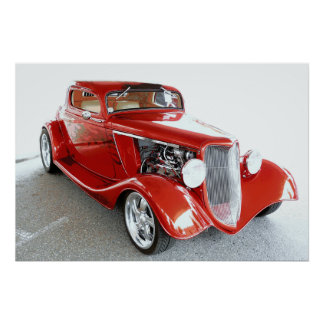 Red Flames and  Flared Fenders Poster