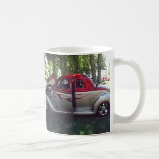 Red Flames and Silver Classic Car Mug