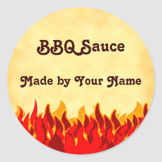 Red Flames BBQ Customizable Jar or Canning Labels