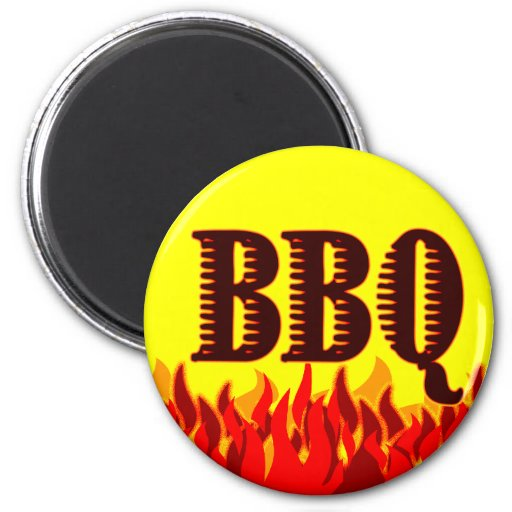 Red Flames BBQ Saying Refrigerator Magnets