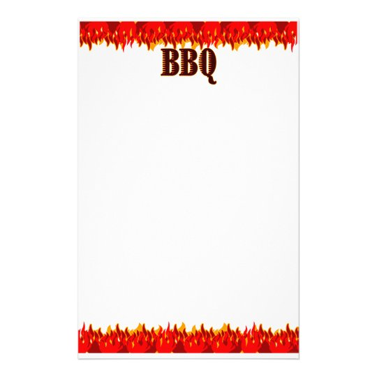 Red Flames BBQ Saying Stationery