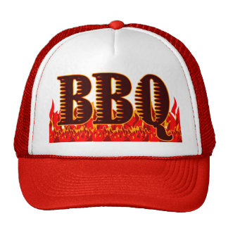Red Flames BBQ Saying Trucker Hat
