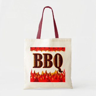Red Flames Funny BBQ Saying Budget Tote Bag