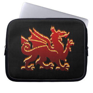 Red flaming welsh dragon computer sleeve