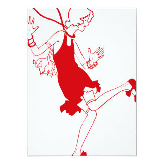 red flapper girl card