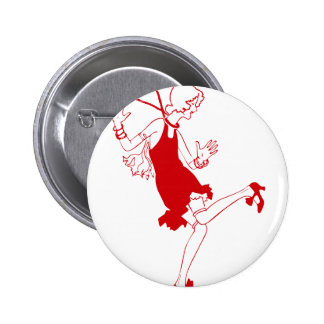red flapper girl pinback button
