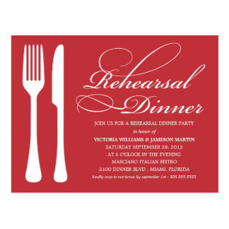 RED FLATWARE | REHEARSAL DINNER INVITE POSTCARD