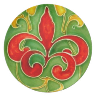 Red Fleur de Lis Antique Wall Tile Plastic Picnic Plate