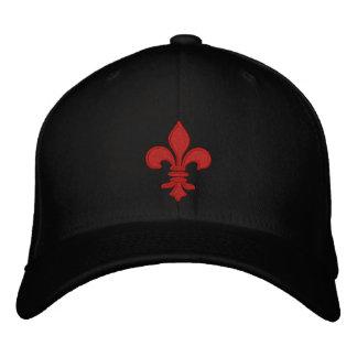 Red Fleur de Lis Embroidered Hat