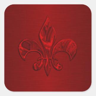 Red Fleur de Lis Envelope Seal Square Sticker