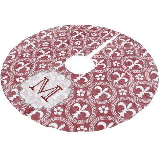 Red Fleur De Lis Frenc Monogram Initial Tree Skirt