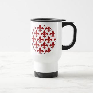 Red Fleur de lis French Symbol Travel Mug