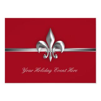 Red Fleur de Lis Holiday Event 5x7 Paper Invitation Card
