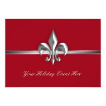 Red Fleur de Lis Holiday Event Invitation