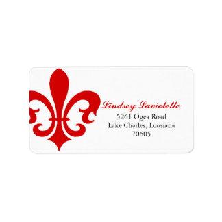 Red Fleur de Lis Personalized Address Labels