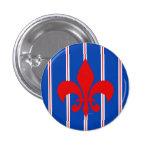 Red Fleur de Lis Striped Button