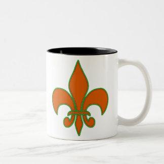 Red Fleur de Lis Two-Tone Coffee Mug