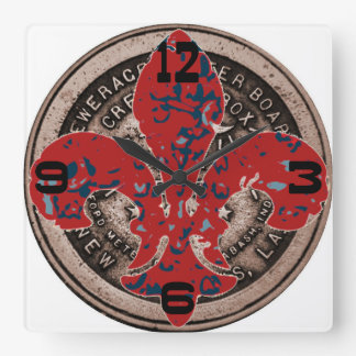 Red Fleur De Lis Water Meter Cover Clock Face