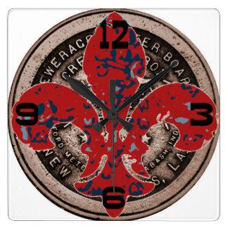 Red Fleur De Lis Water Meter Cover Clock Face