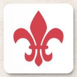 Red Fleur de Lys Coasters